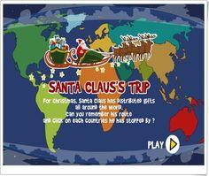 """""""El viaje de Santa Claus"""" es un juego, de uptoten.com, en el que se nos presenta en pantalla el viaje que realiza Santa Claus repartiendo regalos por todo el mundo. Hemos de memorizar el itinerario del viaje de Santa Claus para repetirlo en el mapa haciendo click en los continentes y países que sucesivamente recorre. Terminado el viaje, haciendo click en la flecha se pasa a un nuevo itinerario."""
