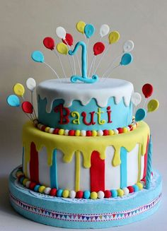 Circus 1st Birthday Party cake!  See more party ideas at CatchMyParty.com!