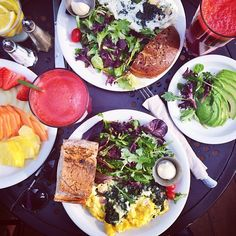 Mixed greens, eggs, smoothies, fruit, avocados, bread... Everything I love.