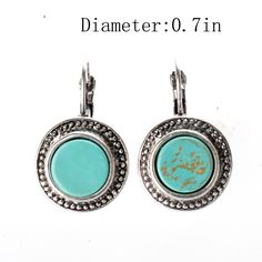 Ginasy Silver Plated Long Turquoise Drop Earrings