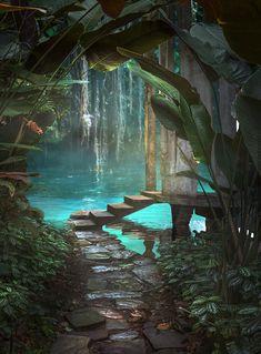 Fantasy Jungle Premade Background by little-spacey on DeviantArt Fantasy Jungle Premade Background by little-spacey on DeviantArt Nature Aesthetic, Travel Aesthetic, Fantasy Places, Fantasy World, Fantasy Art Landscapes, Beautiful Landscapes, Fantasy Artwork, Beautiful Places To Travel, Dream Vacations