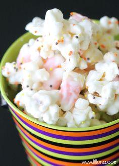 White Chocolate Candy Corn Popcorn recipe on { lilluna.com }