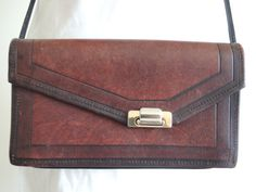 Vintage Brown Leather Crossbody// 80s Purse// by altastyles, $29.00