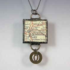 Oklahoma City Vintage Map and Coin Pendant Necklace by XOHandworks