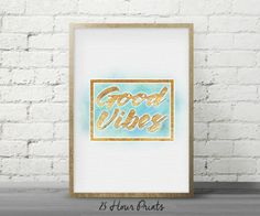 Instant Download Good Vibes Gold Watercolor - Art Print - Printable Art - Digital Prints - Abstract Art
