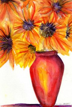 Sunflowers watercolor painting original by SharonFosterArt on Etsy