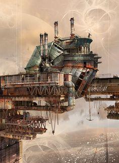 Steampunk is here. Back to the Cool steampunk art Steampunk Kunst, Steampunk Airship, Steampunk Design, 3d Street Art, Sci Fi Fantasy, Fantasy World, Zeppelin, Cyberpunk, Steampunk Illustration