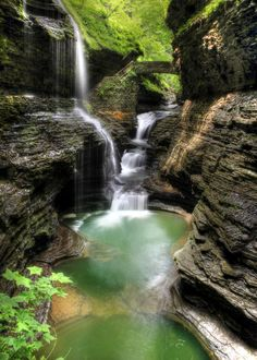 ✯ The beauty of Rainbow Falls at Watkins Glen State Park, upstate New York