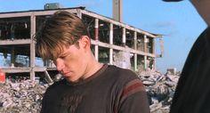 "Matt Damon and Ben Affleck in scene from  the movie ""Good Will Hunting"". Ben tells Matt not to waste his talent."