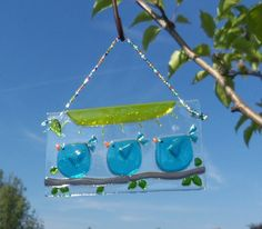 BlUe BiRdS Of HaPpiNeSs FuSeD ArT GlAsS by LanieMarieDesigns