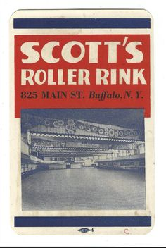 1950's Advertising Roller Skate Case Label Scott's Roller Rink Buffalo NY Interior View Of Rink Free Shipping on Etsy, $13.75