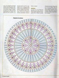 Discover thousands of images about patrones crochet gratis,tejer como terapia,aprender a tejer desde tu casa,trabaj. Motif Mandala Crochet, Crochet Doily Patterns, Crochet Diagram, Crochet Chart, Crochet Squares, Crochet Doilies, Crochet Stitches, Knitting Patterns, Mandala Rug
