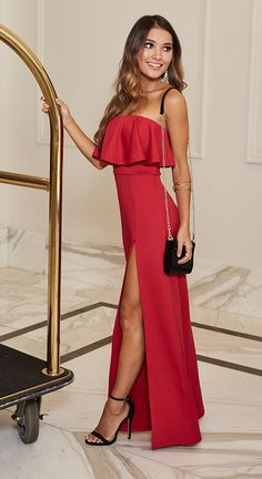 Turn heads in red Ball Dresses, Ball Gowns, Prom Dresses, Formal Dresses, Sorority Formal Dress, Elegant Dresses, Nice Dresses, Dress Outfits, Fashion Outfits