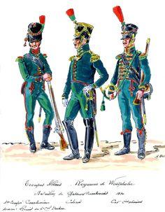 Westphalia; Royal Guard, Chasseur Carabiner Battalion. 1st Company Carabiner, Colonel & Cornet of Chasseur Cos 1810