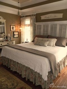 I love the crown molding in this main pic. No Cost Decorating ~ Master Bedroom. Love the shutter headboard and the wall color Dream Bedroom, Home Bedroom, Bedroom Ideas, Country Master Bedroom, Country Cottage Bedroom, Serene Bedroom, Country Bedrooms, Headboard Ideas, Farmhouse Bedroom Decor