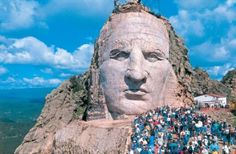 Discover Crazy Horse Memorial in Custer, South Dakota: The world's largest mountain carving could fit all of Mount Rushmore inside it many times over. Monte Rushmore, Statues, Crazy Horse Memorial, Sea To Shining Sea, Wisconsin, Michigan, Native American Art, American Indians, South Dakota