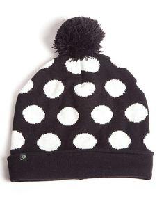 009d890720a Black  amp  White Polka Dot Fleece-Lined Beanie by Plush  zulily   zulilyfinds