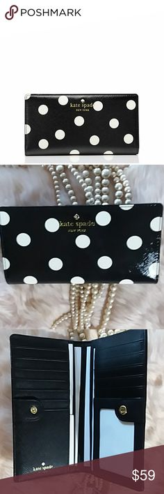 Kate Spade Cedar Street Polka Dot Wallet So, so fun!  This new with original packaging wallet is absolutely fun and functional with the black and white polka dot. Zips at the side. Includes center area for caeds and cash. Zipper back for change and folds shut.   A great Kate Spade piece for you or as a gift. kate spade Bags Wallets