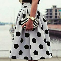 Vintage High Waist Polka Dot Pleated Midi Skirt Charming vintage look black and white A-line polka dot skirt, high waisted with back zipper closure, pleated all around for a full look,  spandex/cotton blend, lined. Skirt length is 21 inches, waist is 30 in. Tag says L, but it is really a US size M/8-10.  NWOT. Great trendy, vintage look for dressing up or summer casual!!! ***PLEASE ASK FOR SEPARATE LISTING*** Boutique Skirts Midi