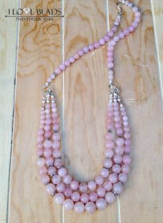 Rose quartz necklace-mutli strand necklace-pink necklace-rose quartz-pink stone jewelry-multi stranded rose quartz necklace-gifts for her - Pink Necklace, Seed Bead Necklace, Beaded Necklace, Strand Necklace, Stone Jewelry, Beaded Jewelry, Quartz Crystal Necklace, Beautiful Necklaces, Handcrafted Jewelry
