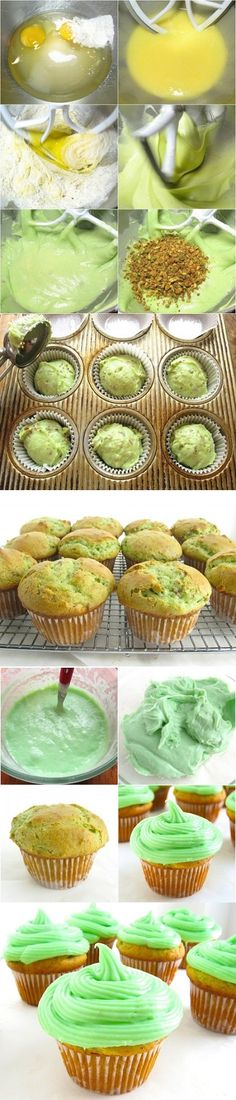 Pistachio Cupcakes-these look delicious!!!! Id eat them just for the way they look! #cupcakes
