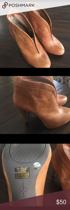 Jessica Simpson ankle booties Size 7 Jessica Simpson super cute tan/brown ankle booties in great condition. Jessica Simpson Shoes Ankle Boots & Booties