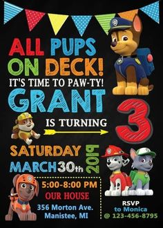 Are you ready to Paw-ty? These Paw Patrol Birthday Party Ideas will make you Pup Pup Boogie. Paw Patrol Cakes, Party Decor, Party Supplies, More! Paw Patrol Party Invitations, Paw Patrol Party Supplies, Unicorn Invitations, 3rd Birthday Party For Boy, Third Birthday, Birthday Ideas, Paw Patrol Birthday Theme, Paw Patrol Birthday Decorations, Paw Patrol Balloons