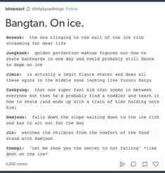 it's funny because tae's the one who can't skate and joon's the one who's pretty good