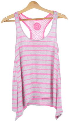 Striped Tank Top with Crochet Details