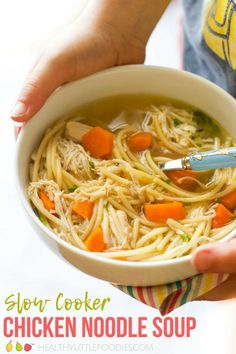 Cooker Chicken Noodle Soup Slow cooker chicken noodle soup, great for kids. Quick and easy to prepare.Slow cooker chicken noodle soup, great for kids. Quick and easy to prepare. Healthy Crockpot Recipes, Healthy Soup, Slow Cooker Recipes, Soup Recipes, Cooking Recipes, Healthy Tips, Cooking Pork, Cooking Salmon, Crockpot Meals