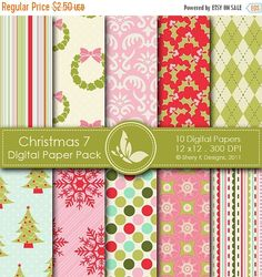 50% off Christmas 7 Paper Pack  10 by SheryKDesigns on Etsy