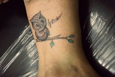 Cute small owl tattoo on her ankle #tattoo #smalltattoo #smalltatt #colortattoo #ankletattoo #owltattoo #tattoosbyashok #tattootraining #tattootrainingindelhi #tattoocourseindelhi #tattooindelhi #tattooinnewdelhi #tattooinindia