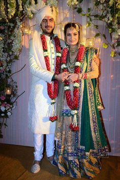 Dia Mirza and Sahil Sangha just after their Wedding Ceremony at Rosha Farms, Ghitorni, South Delhi, Oct 18, 2014