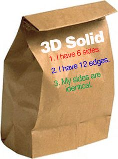 Guess my 3D Shape:  Pass out paper lunch bags and have kids find a 3D solid to put inside. Also, have students write three clues that describe their 3D shape on...