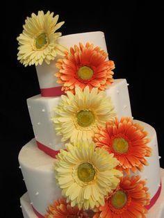 wedding cake with gerber daisies designs | Wedding Cake Yellow Orange Hot Pink Gerber Daisy Somerset Kentucky ...