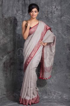 Excited to share this item from my shop: Linen saree Organic Linen by Linen sarees with zari Work and blouse piece Organic handwoven 100 count Linen saree Stitched blouse on request Grey Saree, Purple Saree, Jamdani Saree, Saree Models, Elegant Saree, Work Sarees, Saree Styles, Saree Blouse Designs, Saree Collection