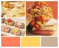 taupe + coral + yellow