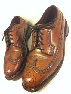 Of course my Grandfather wore these shoes! They go with that hat, don't they? Brown leather Florsheim Longwing Oxfords from MelissaJoyVinatge.