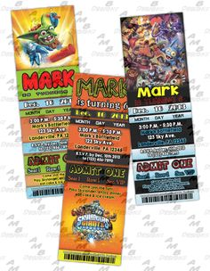 """Skylanders ticket Invitations & matching Party Supplies available .This invitation in the Skylanders theme will """"WOW"""" your party guests. Customized just for you; party supplies to match are available. 16 different design styles to choose from. Custom Party Invitations, Ticket Invitation, Skylanders, Party Guests, Party Supplies, Design Styles, Birthday Ideas"""