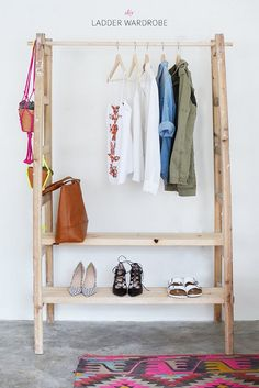 DIY - Ladder Wardrobe. Make a wardrobe using a ladder from A Pair & A Spare. #diy #ladder #wardrobe