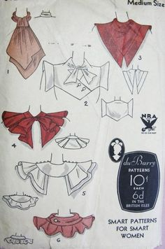 Art Deco Collars Pattern DuBarry Striking Designs For Daytime or Evening Glamour Styles 6 Unique Collars Medium Size NRA Vintage Sewing Pattern (Diy Clothes Vintage) Clothes Draw, Sewing Clothes, Diy Clothes, Motif Vintage, Vintage Diy, Vintage Style, Vintage Glamour, Vintage Images, Vintage Sewing Patterns
