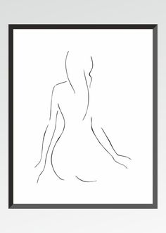 Minimalist line art print. Female nude from back. Black and white drawing for home decor. by siret on Etsy https://www.etsy.com/listing/243775812/minimalist-line-art-print-female-nude