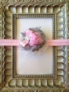 Holiday headband Pink and Grey Shabby Chic Headband by LHNDesign, $8.00
