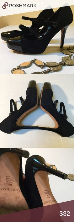 """WHBM """"Mandy"""" Pumps. Mary Jane inspired Pumps. Leather Suede and man made upper. Cap Toe, few marks on heel area. 2 cute strap embellishments, with cute little buttons. Heel s are 4"""". Toe cap, no scuff. Great pre loved condition. I love fair offers💜❤️👍 White House Black Market Shoes Heels"""