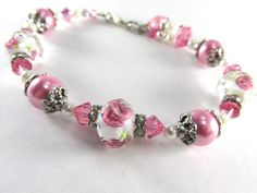 Rose Lampwork Glass Large Bracelet in Pink and White Multi with Crystal Rondelles and Pearls