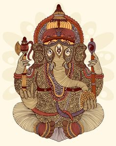Ganesh is a hindu god - he has the body of a human and head of an elephant. he provides good luck for your home. every hindu home has a ganesh statue. Most symbolically, he is a remover of obstacles. Shiva, Krishna, Ganesha Art, Lord Ganesha, Shri Ganesh, Ganesh Statue, Les Religions, Popular Art, Painting Edges