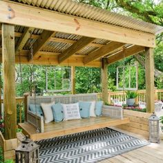 The wooden pergola is a good solution to add beauty to your garden. If you are not ready to spend thousands of dollars for building a cozy pergola then you may devise new strategies of trying out something different so that you can re Pergola Cost, Pergola Swing, Outdoor Pergola, Pergola Plans, Backyard Patio, Backyard Landscaping, Outdoor Spaces, Outdoor Living, Outdoor Decor