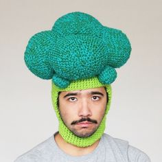Phil Ferguson's crocheted broccoli hat....doesn't look too happy about his greens... ;)