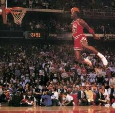 530d76da8d53d4 The Famous Michael Jordan dunk from the foul line to win the NBA slam dunk  contest. Air Jordan flew seemingly against the laws of gravity!