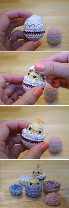 Crochet Easter Eggs with Crochet Chicks